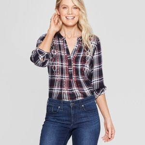 Knox Rose Blue and Red Embroidered Plaid Blouse-XS